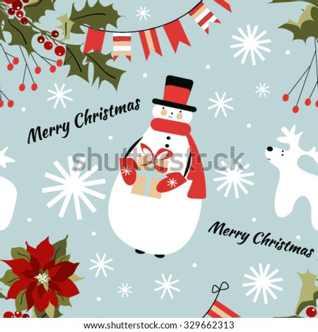 Seamless Christmas pattern with snowman, snowflakes, deer, holly, poinsettia