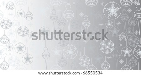 Seamless christmas pattern with toys & snowflakes - stock vector