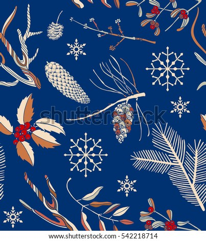 seamless Christmas pattern with winter branches