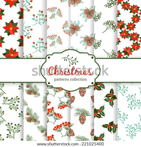 seamless Christmas patterns. set. EPS 10 vector illustration - stock vector