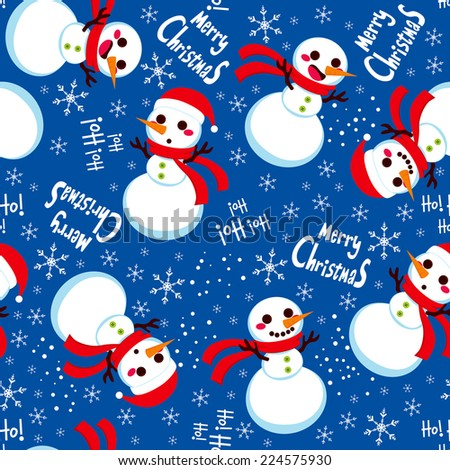Seamless Christmas Snowman with Santa hat background pattern tiling texture - stock vector