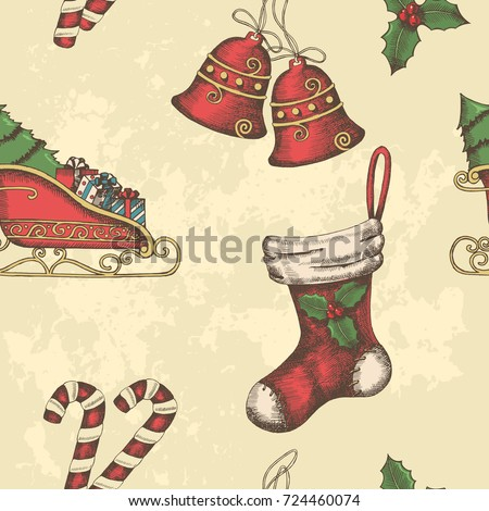 Seamless Christmas vintage pattern with hand drawn bells, santa's sleigh, candy, holly and  sock. New year. Background can be used for wallpaper, web page background, surface textures, textile