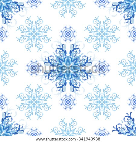 Seamless christmas white pattern with blue snowflakes (vector eps 10) - stock vector