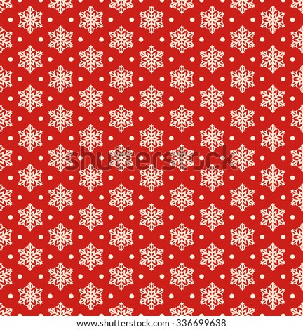 Seamless Christmas Winter Pattern with Snowflakes Isolated on Red Background - stock vector