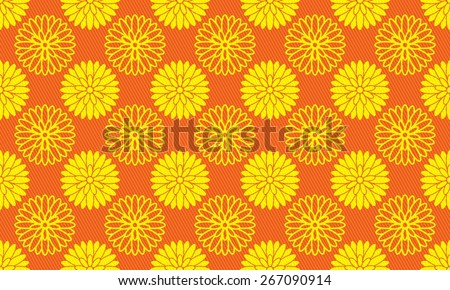 Seamless Chrysanthemum Pattern of Golden Color on Red Background. Overlaid With A Grate of Sloped Lines. - stock vector