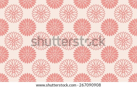 Seamless Chrysanthemum Pattern of Pink Color. Overlaid With A Grate of Sloped Lines. - stock vector