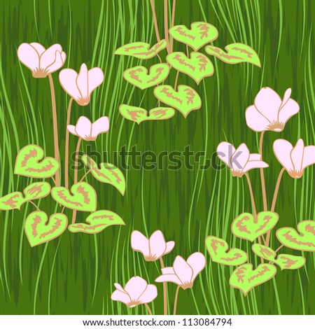 seamless ciklamen flowers pattern background - stock vector