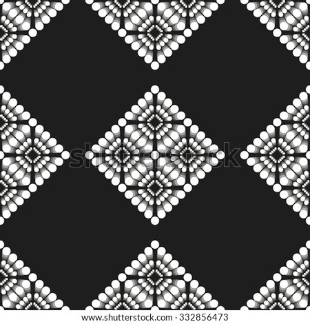 Seamless Circle and Ring Pattern. Abstract Black and White Background. Ethnic background.  Arabic architecture inspired backdrop. Grid background. Geometric background. Tiled. Vector Regular Texture.