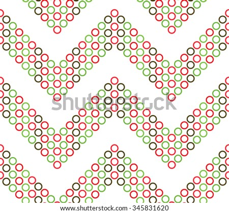Seamless circle and ring pattern. Abstract Vector Background. Seamless Christmas Pattern in red and green waves. New year background. Zigzag Pattern. Geometric Pattern. Vector Regular Texture. - stock vector