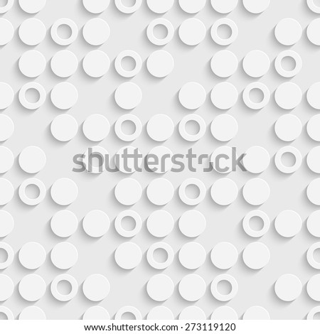 Seamless Circle and Ring Pattern. Vector Soft Background. Regular White Texture - stock vector