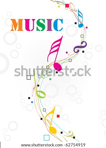 seamless circle background with colorful musical notes - stock vector