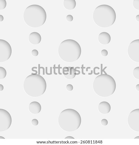 Seamless Circle Pattern. Vector Soft Background. Regular White Texture - stock vector