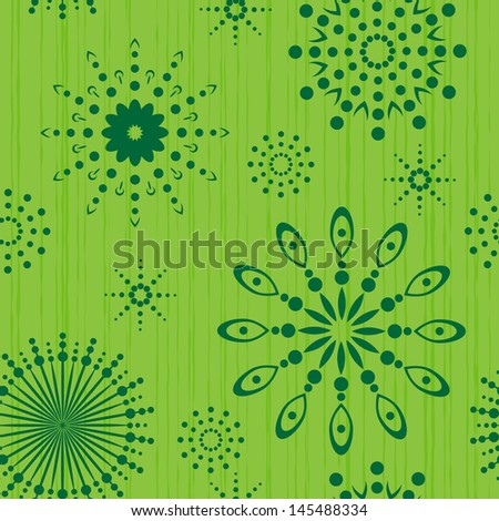 Seamless circles pattern on green background - stock vector