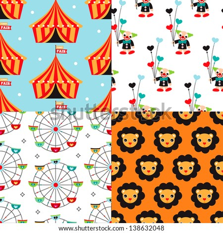 Seamless circus clown and kids carnival lion illustration background pattern set in vector - stock vector
