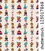 seamless circus pattern,cartoon vector illustration - stock photo