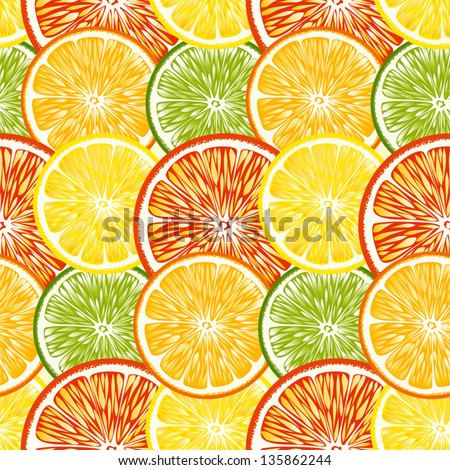 Seamless Citrus background - stock vector