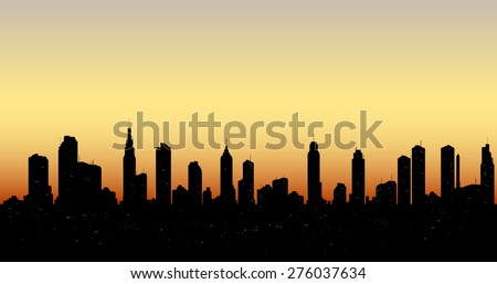 Seamless City skyline aerial at sunset with  skyscrapers. Vector - stock vector