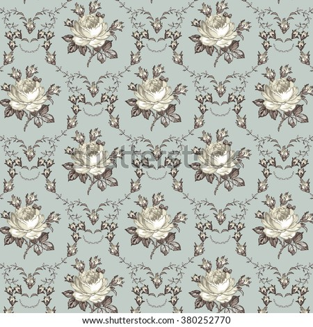 Seamless classic pattern. Beautiful white baroque realistic isolated flowers. Vintage background blooming flowers Rose Drawing engraving textile Freehand Wallpaper Vector victorian style Illustration. - stock vector