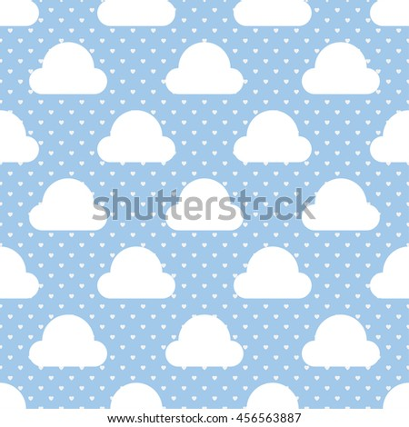 Seamless Cloud Pattern with Heart