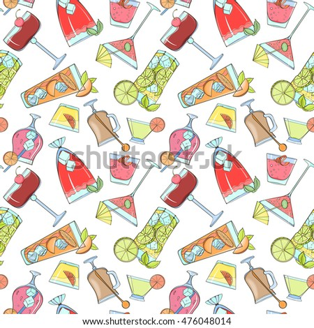 Seamless cocktail pattern can be used for wallpaper, website background, wrapping paper. Summer cocktail natural bright pattern. Summer design. Food concept.