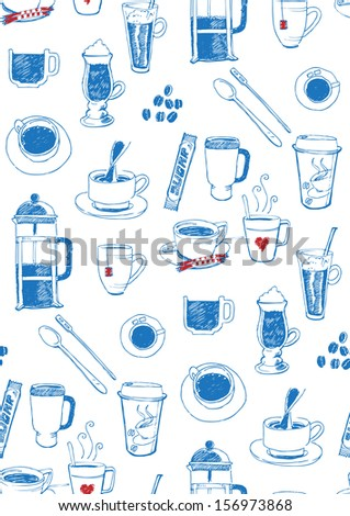 seamless coffee and tea pattern - stock vector