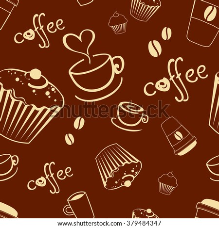 Seamless coffee background with cakes, cup, text, coffee beans. Vector pattern.