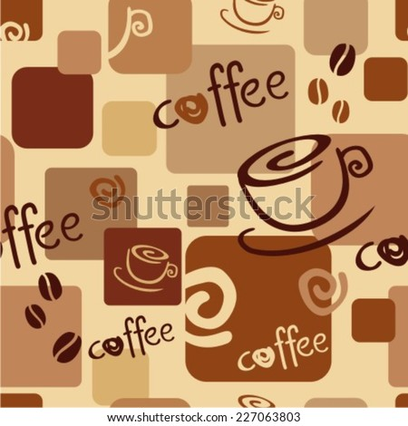 Seamless coffee background with caps, text, coffee beans