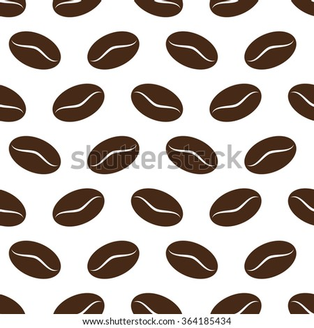 seamless coffee beans isolated on white background. vector illustration - stock vector