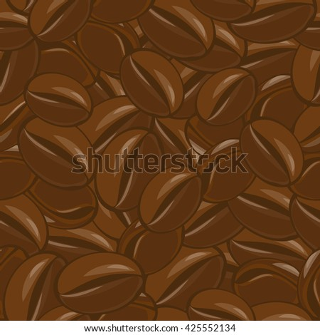 Seamless coffee beans pattern. Natural fresh grain. Arabica flavor. Energy drink. - stock vector
