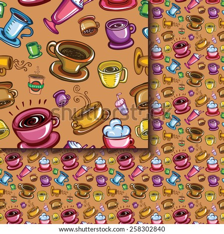 Seamless coffee cups pattern - stock vector