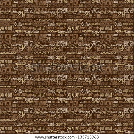 Seamless coffee icons & words vector background - stock vector