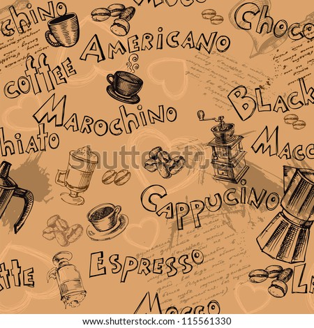 Seamless coffee names background with hand drawn elements - stock vector