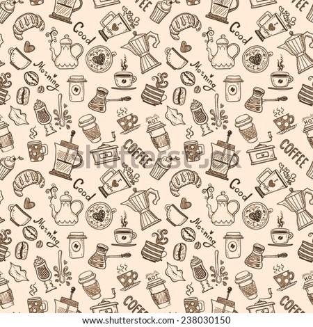 Seamless Coffee Pattern - stock vector