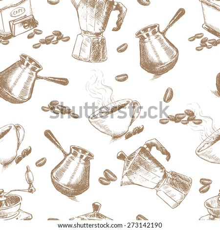 Seamless coffee pattern. Turkish coffee cup, geyser coffee maker, cup and coffee beans. Hand drawn sketch illustration. - stock vector