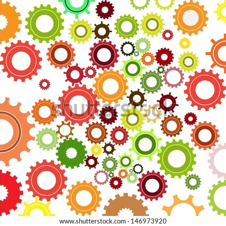 seamless cogs repeat pettern - colours .vector - stock vector
