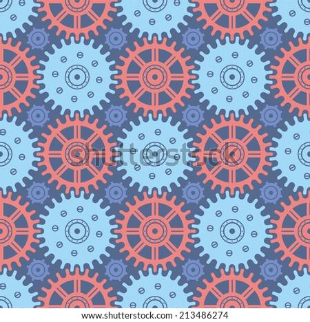 Seamless Cogwheel Pattern - stock vector