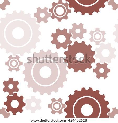 Seamless cogwheel pattern, machinery background. Vector - stock vector