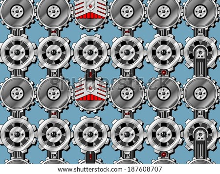 Seamless cogwheel pattern with screwed hitech connectors