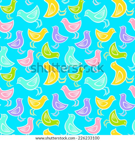 Seamless color birds pattern  - stock vector