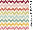 Seamless color chevron pattern on linen texture. Zigzag vector background - stock vector