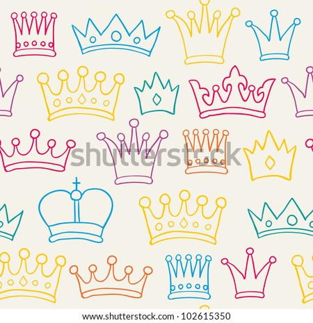 Seamless color crown pattern. Vector illustration - stock vector
