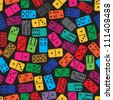 Seamless color dominoes pattern. Vector illustration - stock vector