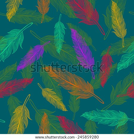 Seamless color feathers pattern  - stock vector