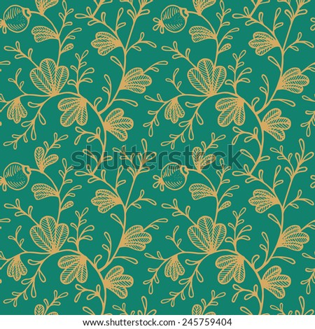 Seamless color floral pattern - stock vector