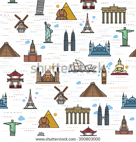 Seamless color pattern of the attractions of the world, outline drawing for your application. The most famous place for travel - stock vector