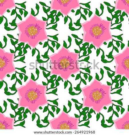 Seamless color pattern with flowers. Vector illustration - stock vector