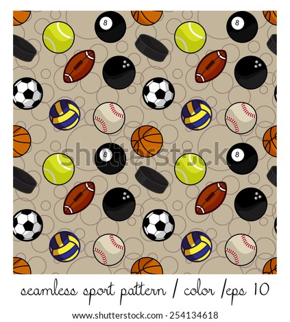 seamless color sport pattern - stock vector