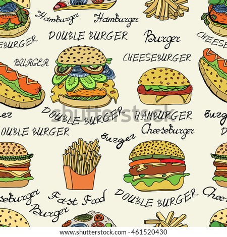 Seamless Colored Wallpaper Background Of Hand Drawn Set Sketchy Fast Food Illustrations Burgers