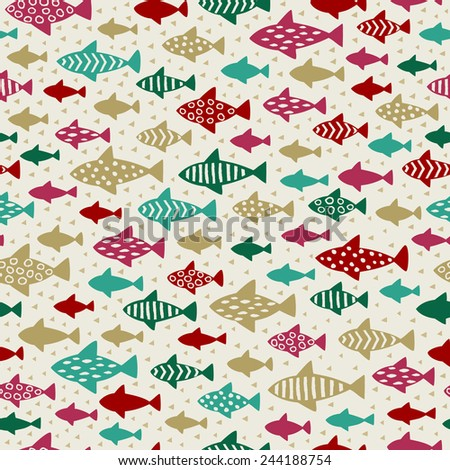 Seamless colorful abstract texture. Ornamental endless pattern, background with fishes, template for design and decoration
