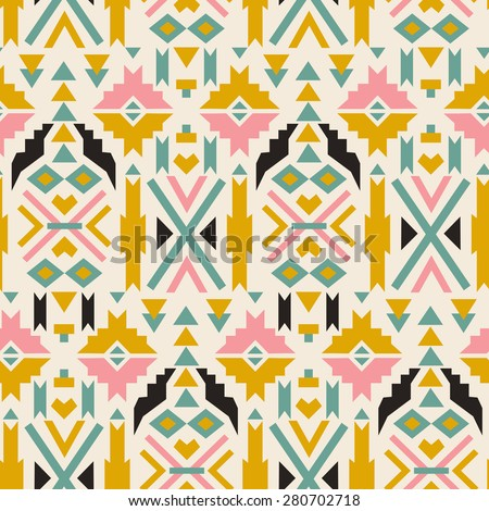 Seamless colorful  aztec pattern. Aztec geometric background. Modern abstract wallpaper. Ethnic hipster backdrop. Aztec grunge art print. For cloth design, fabric, paper, wrapping, textile. hand drawn - stock vector